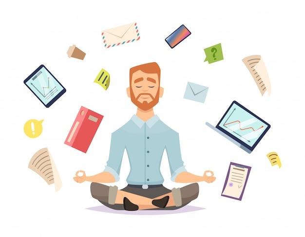 Yoga de negócios. o zen do escritório relaxa a concentração na prática da ioga da tabela do espaço de trabalho