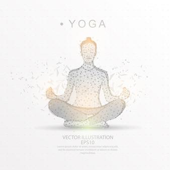 Yoga em uma pose de lótus digitalmente desenhada baixo quadro de fio de triângulo poli.