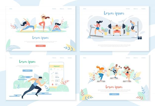 Yoga, exercício no ginásio, correndo sprinter distância