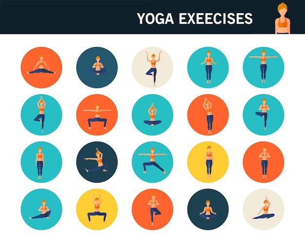 Yoga exercícios ícones plana de conceito.