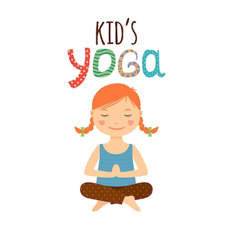 Yoga kids design de logotipo com garota
