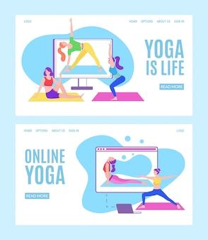 Yoga on-line com meninas em poses de meditação, fazendo exercícios físicos e assistindo aulas on-line via tablet ou laptop, ilustração web plana.