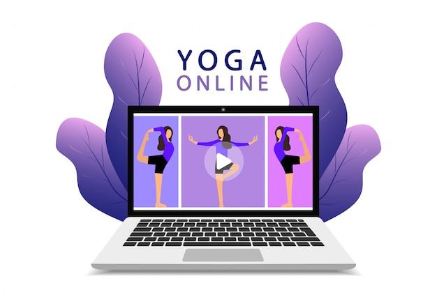 Yoga on-line em um laptop. aula de ioga online. lição de fitness online. página da web moderna.