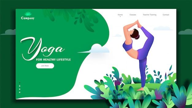 Yoga para estilo de vida saudável com base página de aterrissagem com jovem fazendo exercício em pose de natarajasana.