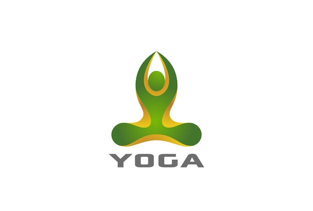 Yoga sentado lotus pose logo.