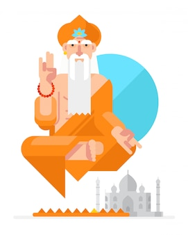 Yogi no estilo do desenho animado. vetor.