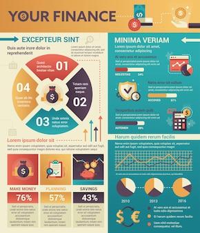 Your finance - pôster de informações, layout de modelo de capa de brochura com ícones, outros elementos de infográfico e texto de preenchimento