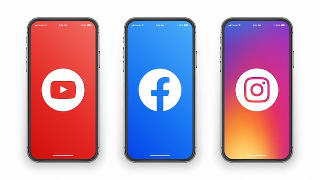 Youtube facebook instagram logo na tela do telefone