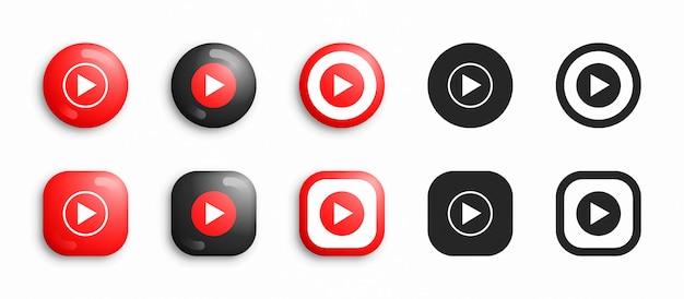 Youtube música moderna 3d e conjunto de ícones plana