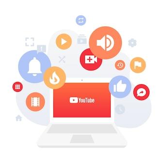 Youtube na ilustração do conceito de laptop