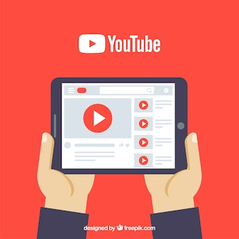 Youtube player no dispositivo com design plano