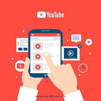Youtube player no dispositivo com design plano