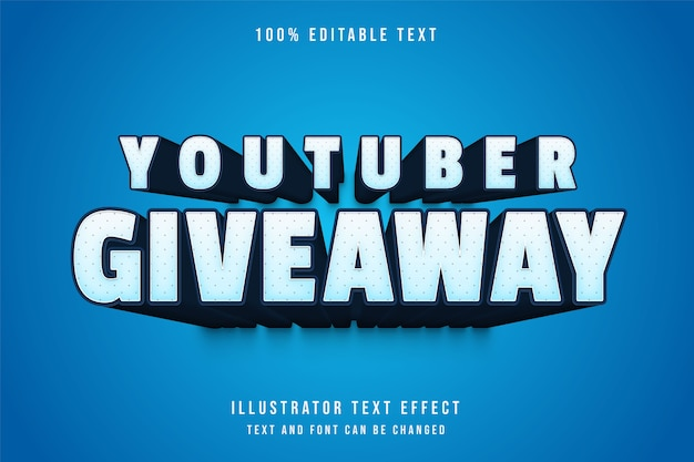 Youtuber giveaway, 3d editable text effect blue gradation comic shadow text style