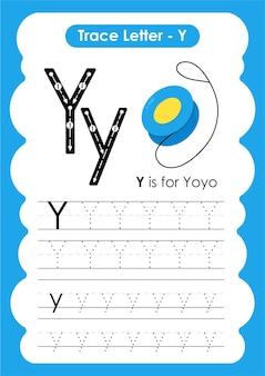 Yoyo trace linhas de escrita e planilha de prática de desenho para crianças