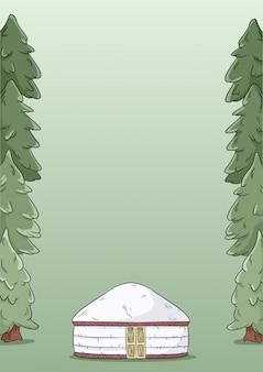 Yurt e pinheiros