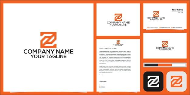 Z inicial no logotipo quadrado com cartão de visita