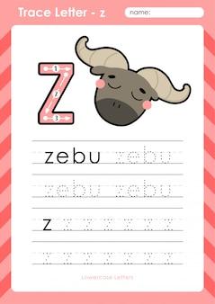 Z zebu: planilha de letras de rastreamento az do alfabeto - exercícios para crianças
