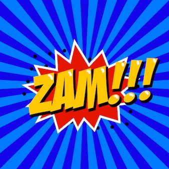 Zam! frase de estilo cômico sobre fundo sunburst. elemento para cartaz, camiseta.