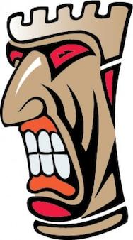 Zangado totem indígena ícone dos desenhos animados do vetor