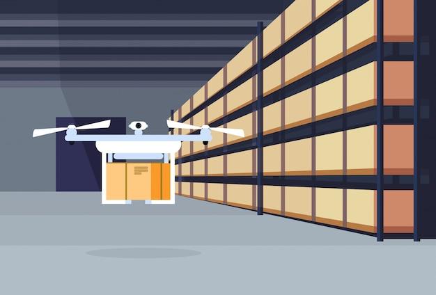 Zangão de entrega voando ar embarque armazém interior pacote caixa no conceito de serviço de carga logística de rack
