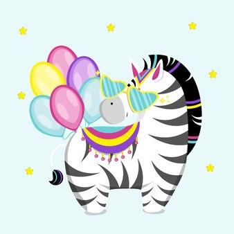 Zebra bonitinha com óculos e bolas. ilustração vetorial plana.