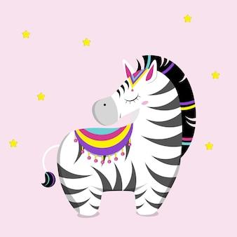 Zebra bonitinha. ilustração vetorial plana.