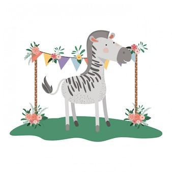 Zebra bonito e adorável com moldura floral
