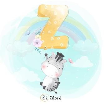 Zebra bonito voando com balão de alfabeto-z