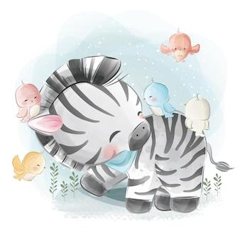 Zebra brincando com pássaros