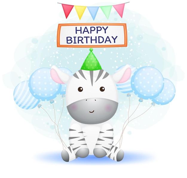 Zebra de bebê fofo usando chapéu de festa com balões. saudação de feliz aniversário