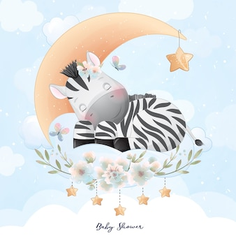 Zebra doodle fofinho com ilustração floral