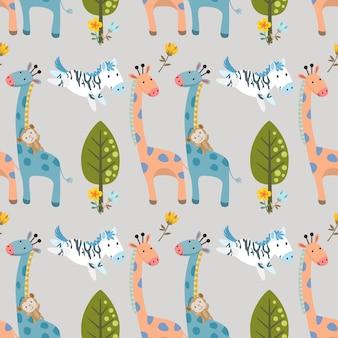 Zebra e macaco de geraffe no teste padrão sem emenda da floresta.