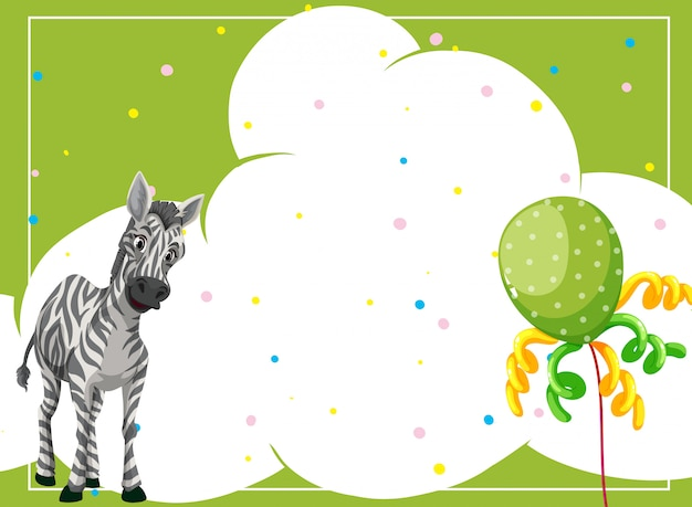 Zebra em um modelo de quadro de festa