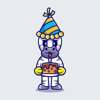 Zebra fofa comemorando feliz ano novo ou aniversário