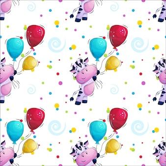 Zebra listrada bonita voa com padrão de balões