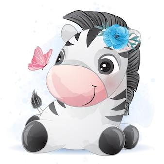 Zebra pequena bonita com efeito aquarela