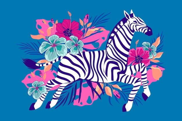 Zebra selvagem com flores tropicais exóticas e folhagens.