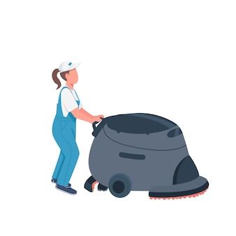 Zelador com personagem sem rosto de cor lisa de máquina de limpeza. limpador feminino em ilustração de desenho animado isolado workwear para animação e design gráfico da web. limpeza comercial