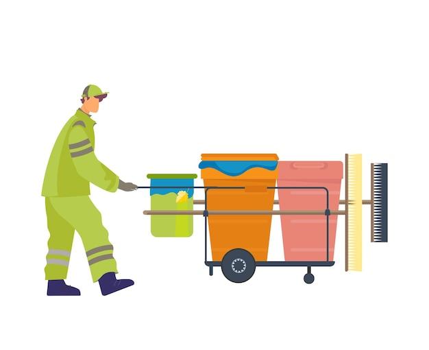 Zelador de uniforme com equipamento para limpeza de ruas planas