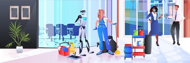 Zelador robótico com robô de limpeza de mulher vs humano trabalhando juntos no conceito de tecnologia de inteligência artificial de serviço de limpeza de escritório