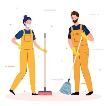 Zeladores equipe serviço de limpeza, produtos de limpeza casal usando máscara médica, de uniforme, trabalhando com equipamentos profissionais de design ilustração vetorial mais limpo