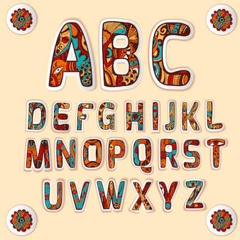 Zentangle alfabeto colorido letras conjunto de autocolantes