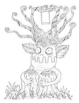 Zentangle árvore no dia das bruxas