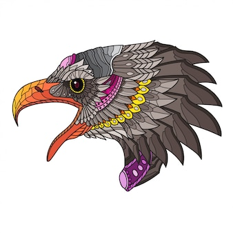 Zentangle cabeça de águia estilizada. ilustração vetorial