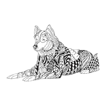 Zentangle de husky siberiano