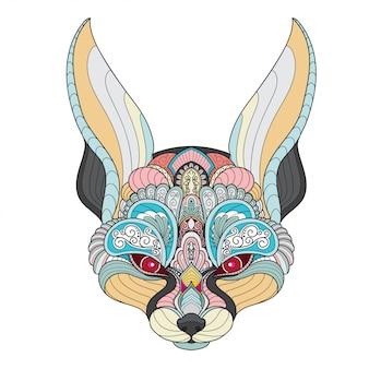 Zentangle estilizado fennec cabeça de raposa