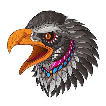Zentangle estilizado ilustrações de cabeça-vetor de águia