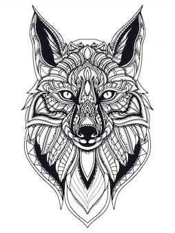 Zentangle fox linha art ilustração vetorial