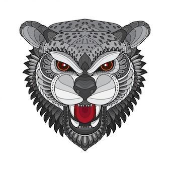 Zentangle ilustrações de cabeça-vetor de tigre estilizado