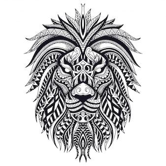 Zentangle leão linha arte ilustração em vetor